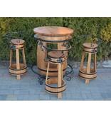 Garten Perfekt Fassgarnitur GRACIANO 5-teilige Sitzgarnitur vom Fass mit Zierelementen