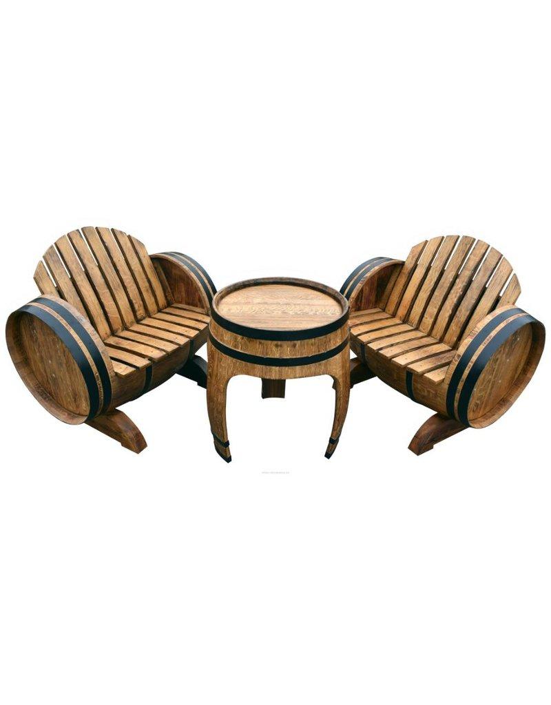 Garten Perfekt Fassgarnitur MACABEO 3-teilige Sitzgarnitur vom Fass