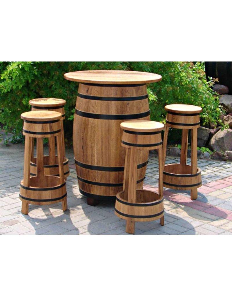 Garten Perfekt Fassgarnitur RIESLING 5-teilige Sitzgarnitur vom Fass