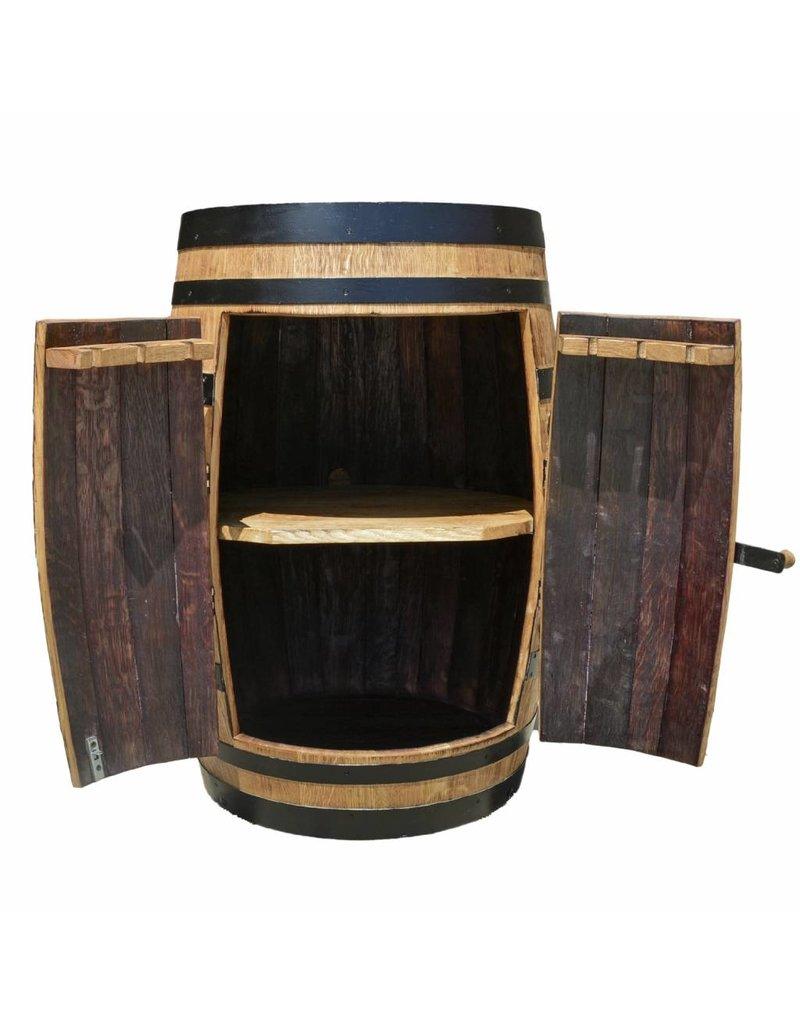 Garten Perfekt Fasskönigbar TREBBIANO 6 mit Tür aus massivem Eichenholz aus gebrauchtem Weinfass perfekt für Weinkeller, Vinothek
