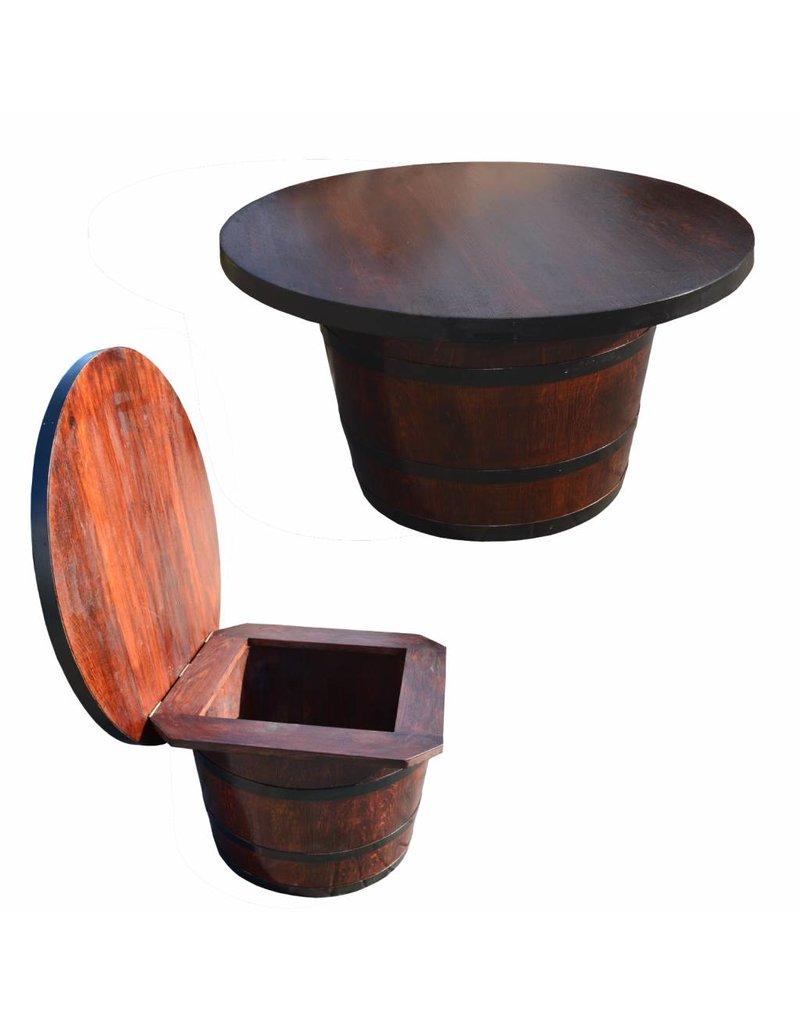 Garten Perfekt Fasstisch CORTIS Kaffeetisch mit Deckel Tisch mit Truhe Klappdeckel vom Fass