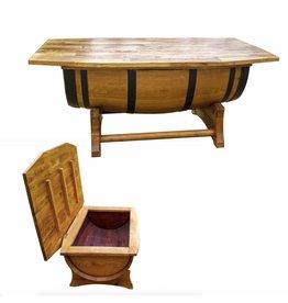 Garten Perfekt Fasstisch DORSA Kaffeetisch mit Deckel Tisch mit Truhe Klappdeckel vom Fass