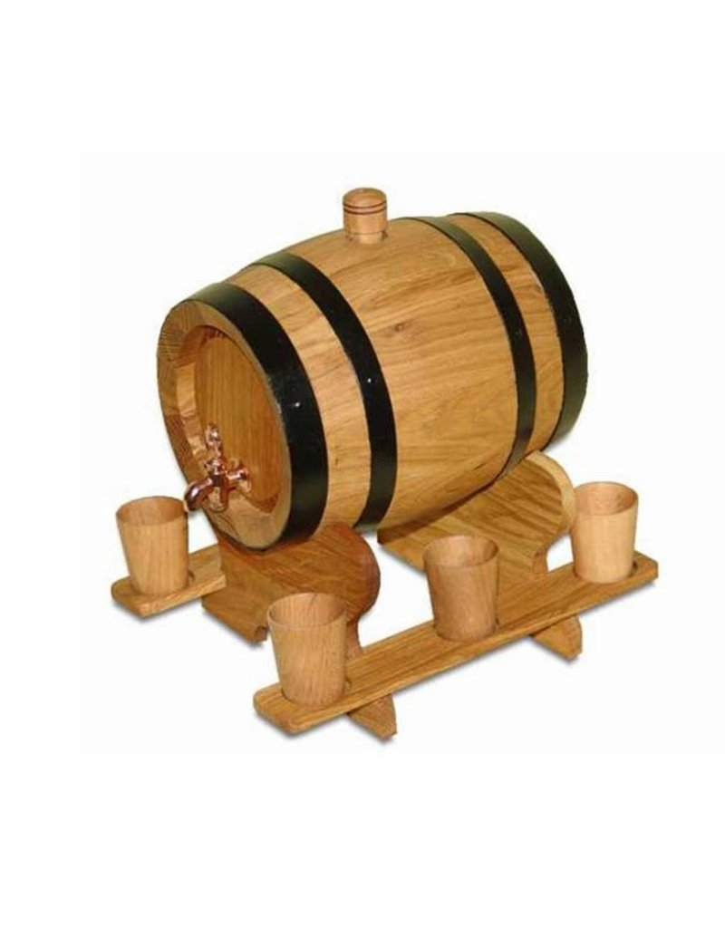 Garten Perfekt Holzfass INZOLIA mit Holzbecher Weinfass Schnapsfass Eichenfass Barriquefass