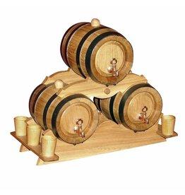 Garten Perfekt Holzfass INZOLIA 3-er Set Pyramide Weinfass Schnapsfass Eichenfass Barriquefass  Weinfasspyramide