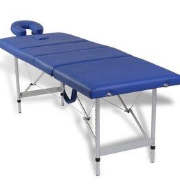 vidaXL Massagetafel inklapbaar met aluminium frame (vier delen / blauw)