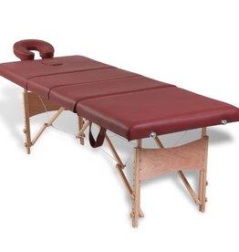 vidaXL Massagetafel inklapbaar met houten frame (vier delen / rood)