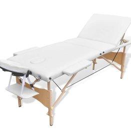 vidaXL Opvouwbare massagetafel 3 Zones (hout, wit)