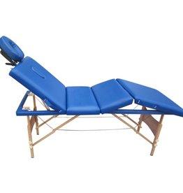 vidaXL Massagetafel 4 zones vouwbaar hout blauw