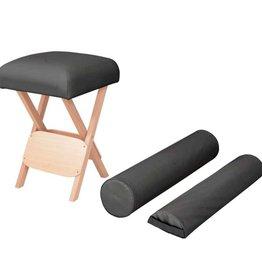 vidaXL Massagekruk met 12 cm dikke zitting en 2 bolsters inklapbaar zwart