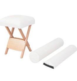 vidaXL Massagekruk met 12 cm dikke zitting en 2 bolsters inklapbaar wit