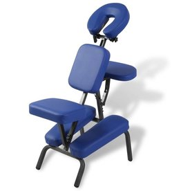 vidaXL Massagestoel inklapbaar en draagbaar (blauw)