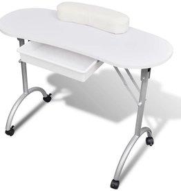 vidaXL Manicure tafel met wieltjes (Opvouwbaar) (Wit)