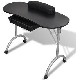 vidaXL Manicure tafel met wieltjes (Opvouwbaar) (Zwart)