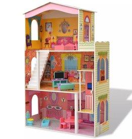 vidaXL Poppenhuis 3 verdiepingen 73x32x116 cm hout
