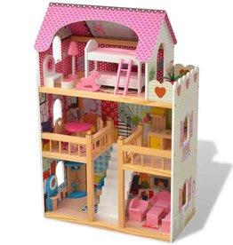 vidaXL Poppenhuis 3 verdiepingen 60x30x90 cm hout