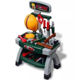 vidaXL Speelgoedwerkbank met gereedschap voor kinderen kinderkamer groen + grijs
