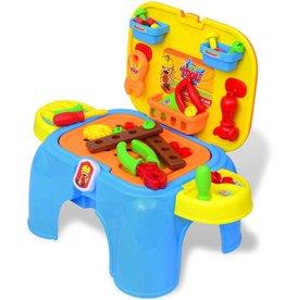 vidaXL Speelgoedwerkbank met gereedschap voor kinderen kinderkamer blauw + geel
