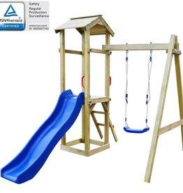 vidaXL Speelhuis met ladder en schommels 237x168x218 cm FSC grenenhout