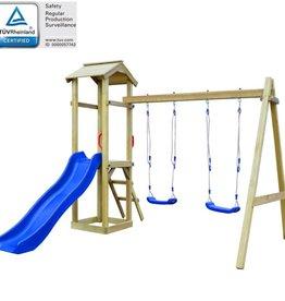 vidaXL Speelhuis met ladder en schommels 242x237x218 cm FSC grenenhout