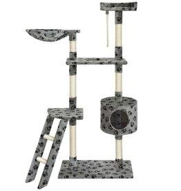vidaXL Kattenkrabpaal 150 cm grijs met pootafdrukken