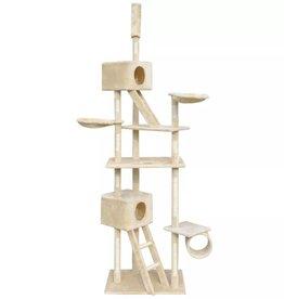 vidaXL Kattenkrabpaal met 2 huisjes 230-260 cm beige