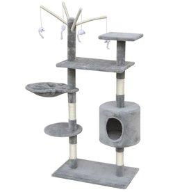 vidaXL Kattenkrabpaal 120 cm 1 huisje grijs