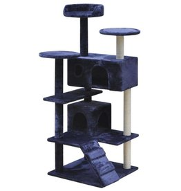 vidaXL Kattenkrabpaal 126 cm 2 huisjes donkerblauw