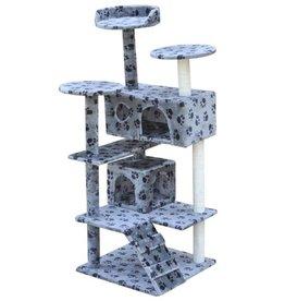 vidaXL Kattenkrabpaal 126 cm 2 huisjes grijs met potenprint