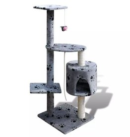 vidaXL Kattenkrabpaal Tommie 114 cm 1 huisje (grijs) met pootafdrukken
