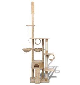 vidaXL Kattenkrabpaal Tommie 220/240 cm 1 huisje (beige)