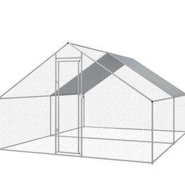 vidaXL Buitenhok voor kippen 3x4x2 m gegalvaniseerd staal
