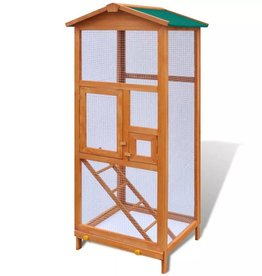 vidaXL Buiten volière 68 x 63 x 165 cm 2-deurs (bewerkt hout)