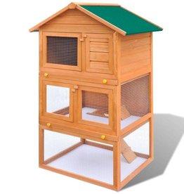 vidaXL Konijnenhok voor buiten met 3 verdiepingen hout