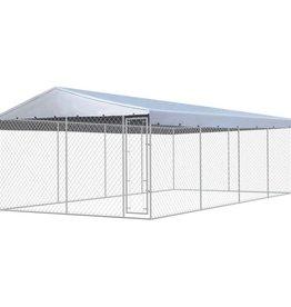 vidaXL Hondenkennel met dak voor buiten 8x4 m gegalvaniseerd staal