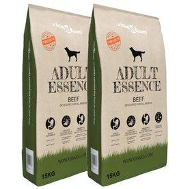 vidaXL Premium hondenvoer droog Adult Essence Beef 30 kg 2 st
