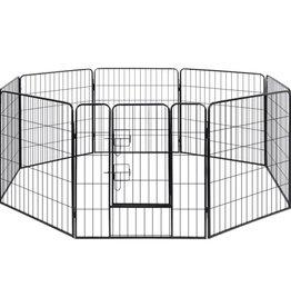 vidaXL Hondenren met 8 panelen staal