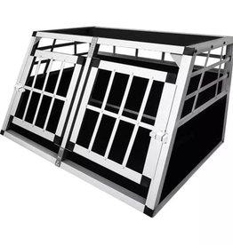 vidaXL Hondentransportkooi met dubbele deur S aluminium