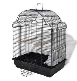 vidaXL Zwarte vogelkooi voor kleinere vogels met 2 voerbakken