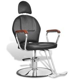 vidaXL Kappersstoel met hoofdsteun professioneel kunstleer zwart
