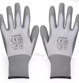vidaXL Werkhandschoenen PU 24 paar wit en grijs maat 9/L