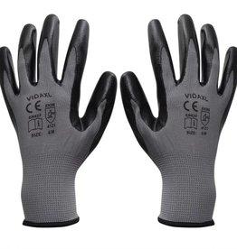 vidaXL Werkhandschoenen nitrilrubber 24 paar grijs en zwart maat 8/M
