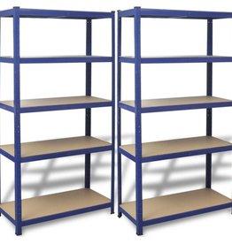 vidaXL Opbergrekken 90x40x180 cm staal blauw 2 st
