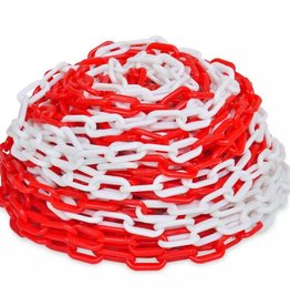 vidaXL Veiligheidsketting kunststof rood en wit 30 m