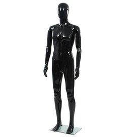 vidaXL Etalagepop mannelijk met glazen voet 185 cm glanzend zwart