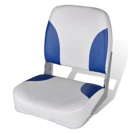 vidaXL Opklapbare bootstoel met blauw-wit kussen 41 x 36 x 48 cm