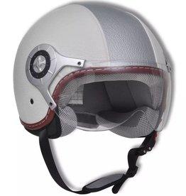 vidaXL Scooter helm Leer S (wit & zilver)