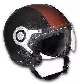 vidaXL Scooterhelm maat: S (zwart & bruin)