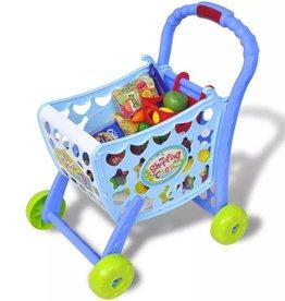 vidaXL Speelgoedwinkelwagentje voor kinderen kinderkamer 3-in-1 blauw