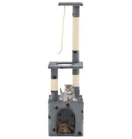 vidaXL Kattenkrabpaal met sisal krabpalen 109 cm pootafdrukken grijs