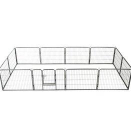 vidaXL Hondenren met 12 panelen 60x80 cm staal zwart
